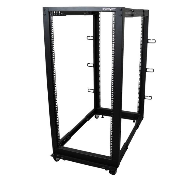 StarTech 25U open-frame server rack kast met 4 stijlen met instelbare diepte incl. zwenkwielen/stelp