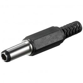 Soldeerbare DC plug 2,5 x 5,5 (14mm lang) met knikbeschermer