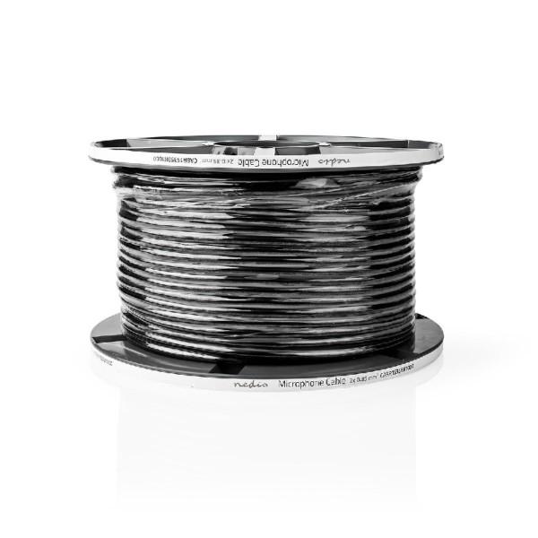Microfoonkabel - 2 x 0,35mm2 - Zwart - 100 meter