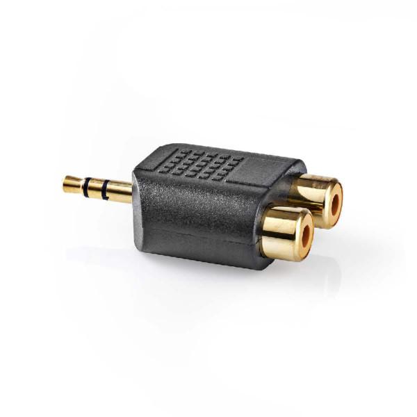 Stereo Tulp (v) - 3,5mm Stereo Jack (m) Adapter - Verguld - Zwart