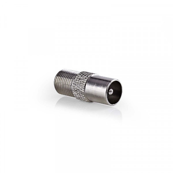 Antenne Adapter Coax Male (IEC) - F-Connector Female Zilver