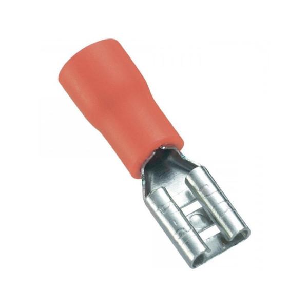 Kabelschoen platte stekkerhuls niet geisoleerd 0,5 - 1,5 mm Rood (100st)
