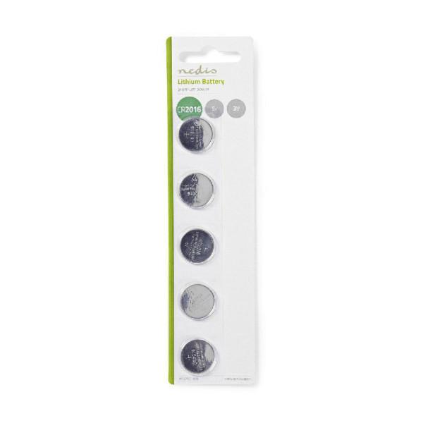 Lithium knoopcel-batterij CR2016 - 3V - 5 stuks