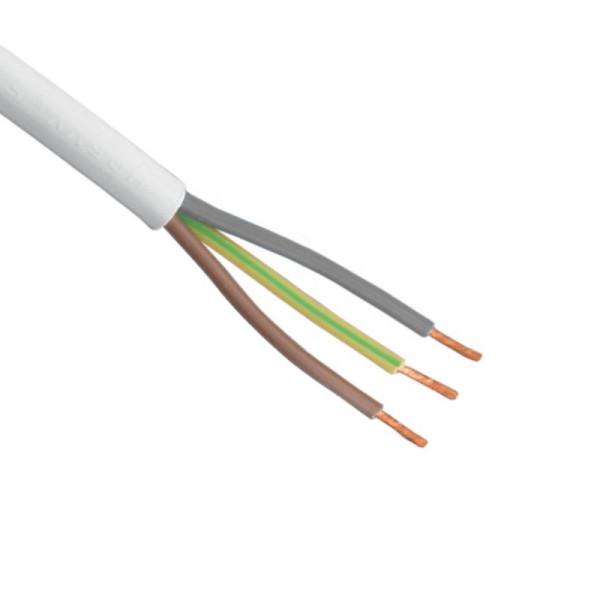 Flexibele (H05VV-F) stroomkabel wit 3 x 1,5mm2 per meter