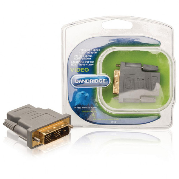 Bandridge HDMI vrouwelijk - DVI 18+1 mannelijk adapter Verguld
