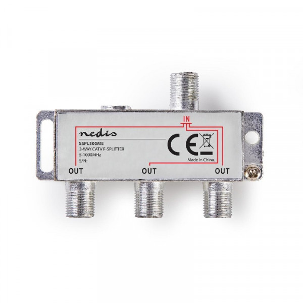 CATV F-Splitter 6,8 dB / 5-1000 MHz - 3 Uitgangen