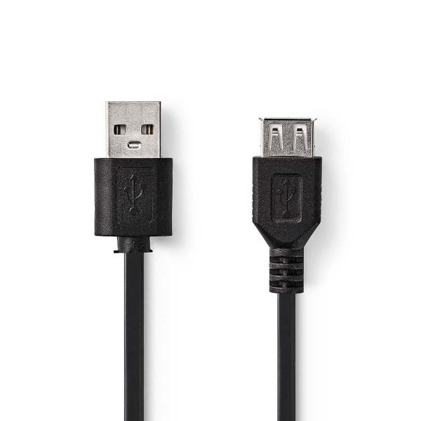USB 2.0 Verlengkabel A Male - A Female 1 meter Zwart