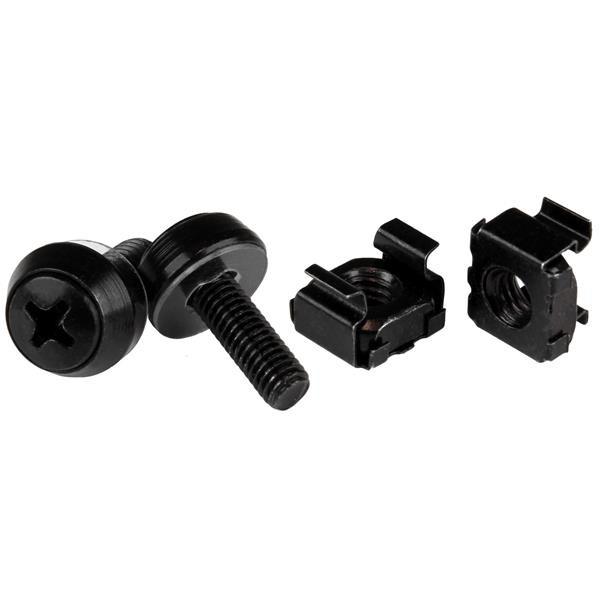 StarTech M5 x 12mm - schroeven en kooimoeren voor serverkast en rack - 50 stuks pak - zwart