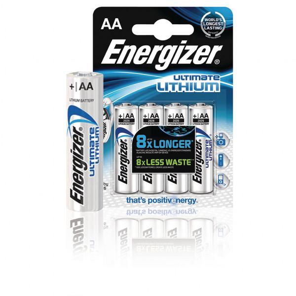 4x Energizer Lithium batterij AA