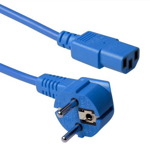 ACT C13 Apparaatstekker voedingskabel 3m Blauw
