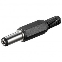 Soldeerbare DC plug 2,1 x 5,5 (14mm lang) met knikbeschermer
