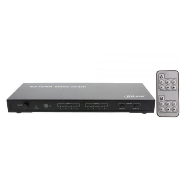 4x 2 poorts Ultra HD HDMI Matrix schakelaar met audio aansluiting