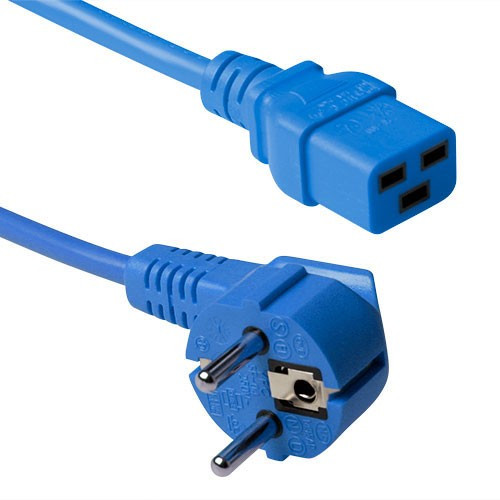ACT C19 Apparaatstekker voedingskabel 3m Blauw