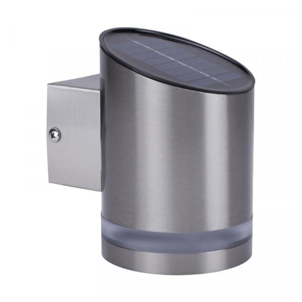 Solar LED Wandlamp voor Buiten 0,5W - RVS - Schuin - Zilver