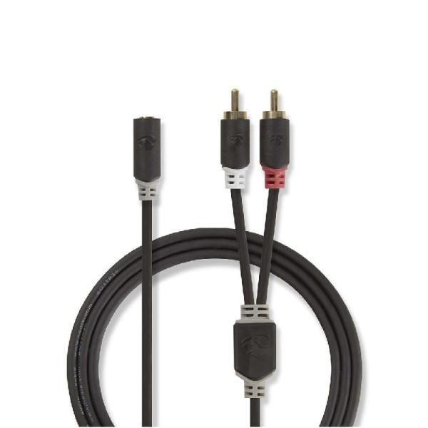 Stereo audiokabel 3.5mm Stereo Jack female - 2x RCA male 0,2m