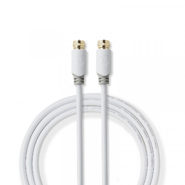 F-Connector Antennekabel 10m Wit