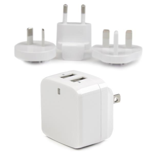StarTech 2-poorts USB-lader - hoog vermogen (17 W / 3,4 A) - reislader (internationaal) - wit