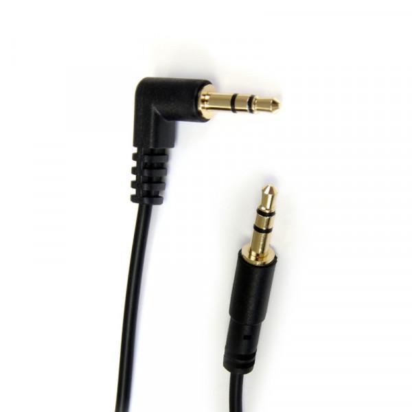 StarTech 3,5mm Stereo Jack Kabel - Een kant haaks - Verguld - 0,3 meter - Zwart