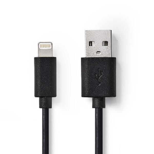 Lightning USB kabel voor Apple iPhone, iPad en iPod 2m Zwart