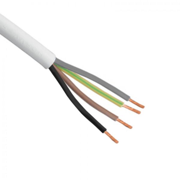 Flexibele (H05VV-F) stroomkabel wit 4 x 0,75mm2 per meter