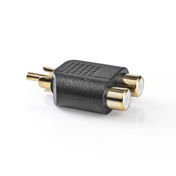 Mono-Audio-Adapter RCA Male - 2x RCA Female Zwart