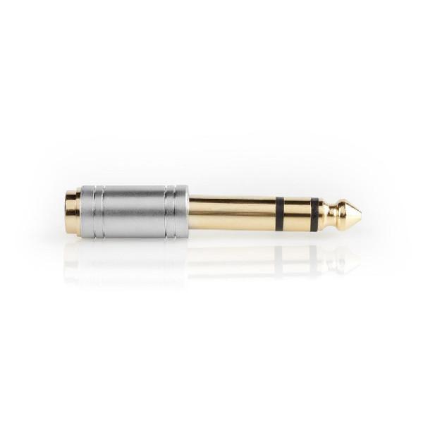 3,5mm (v) - 6,35mm Stereo Jack (m) Adapter - Verguld - Zilver