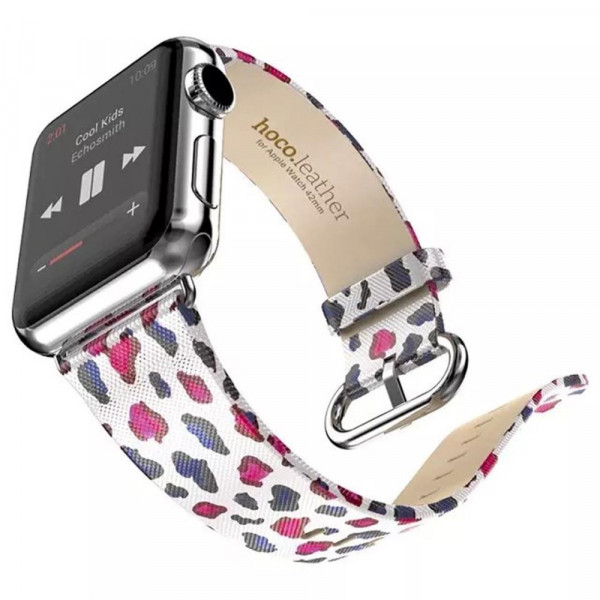 PU leder bandje met print Apple Watch 42/44mm