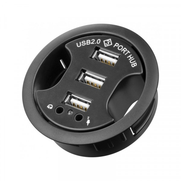 Bureaudoorvoer met USB Hub 3-poorts en Audio