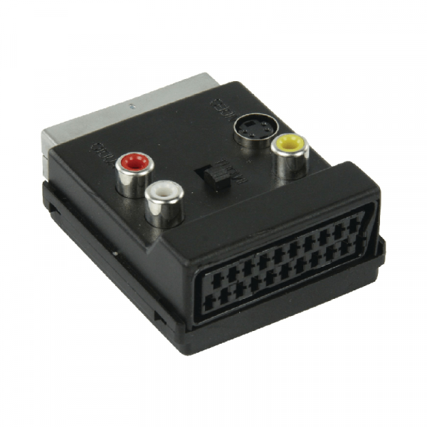 Scart M-F met 3x RCA tulp + S-VHS adapter