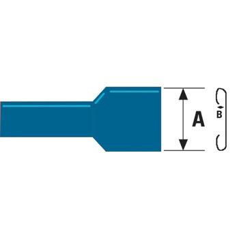 Kabelschoen platte stekkerhuls 1,5 - 2,5 mm Blauw (100st)