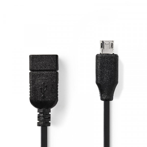 USB 2.0 Kabel Micro-B Male - A Female 0.20 m Zwart