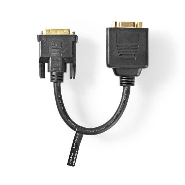 DVI naar 2x VGA splitkabel 0.2m zwart