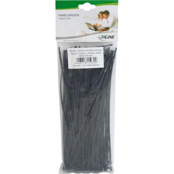 InLine Kabelbinder 250mm 100 stuks Zwart