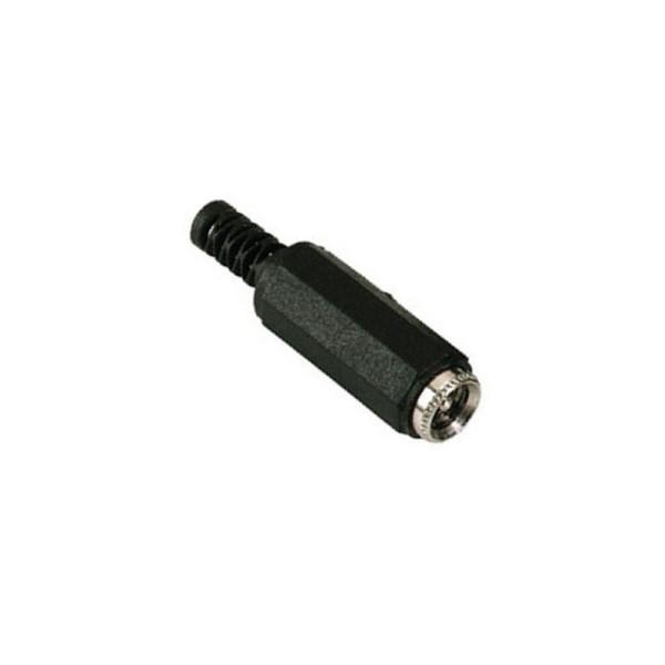 Soldeerbare DC socket 5,5 x 2,1mm met knikbeschermer