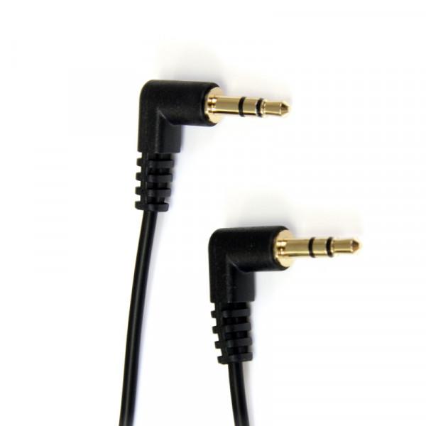 StarTech Haakse 3,5mm Stereo Jack kabel - Verguld - 0,3 meter - Zwart