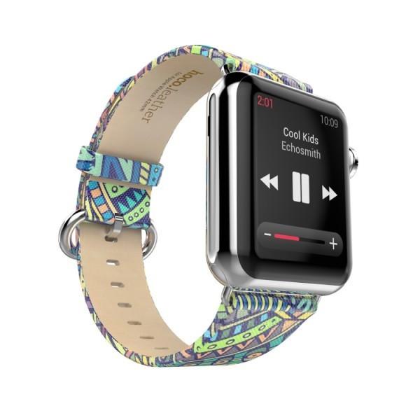 PU leren bandje met Bohemian stijl print Apple Watch 42/44mm