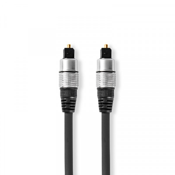 Optische Toslink Kabel - 5,5mm dik - Verguld - 1,5 meter - Zwart
