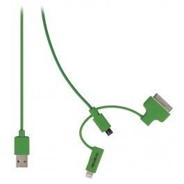 USB 2.0 - Micro USB + Lightning + 30-pins Dock Kabel 1m Groen