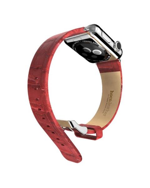 Leren bandje voor Apple Watch 38/40mm Rood (Bamboe-Look)