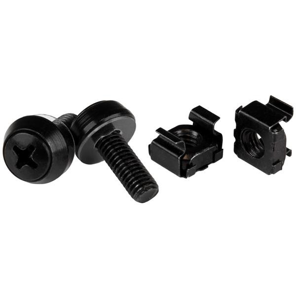 StarTech M6 x 12mm - schroeven en kooimoeren - 50 stuks pak - zwart