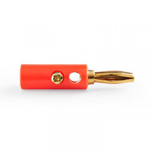 Banana Plug - Verguld - Schroefbaar - Rood