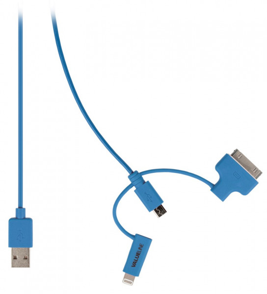 USB 2.0 - Micro USB + Lightning + 30-pins Dock Kabel 1m Blauw