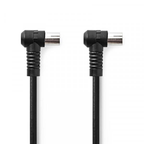 Haakse Coaxkabel IEC (m) - IEC (v) - 75 Ohm - Viervoudige Afscherming - 1,5 meter - Zwart