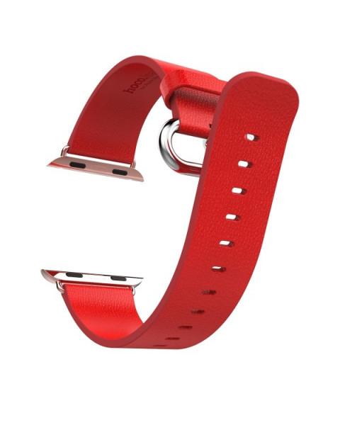 Luxe Pago-Lederen band voor de Apple Watch 38mm/40mm rood