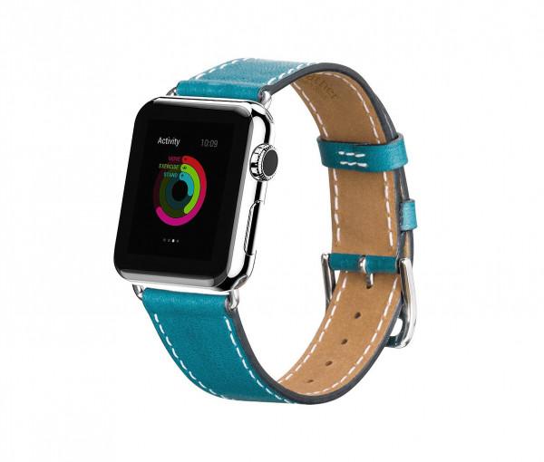 Leren Strap band voor Apple Watch 38/40mm Blauw