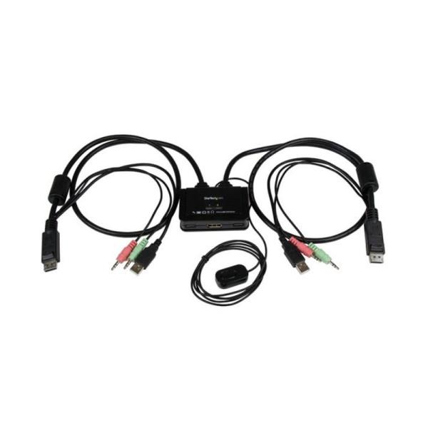 StarTech 2-poorts USB DisplayPort-kabel KVM-switch met audio en remote switch – met USB-voeding