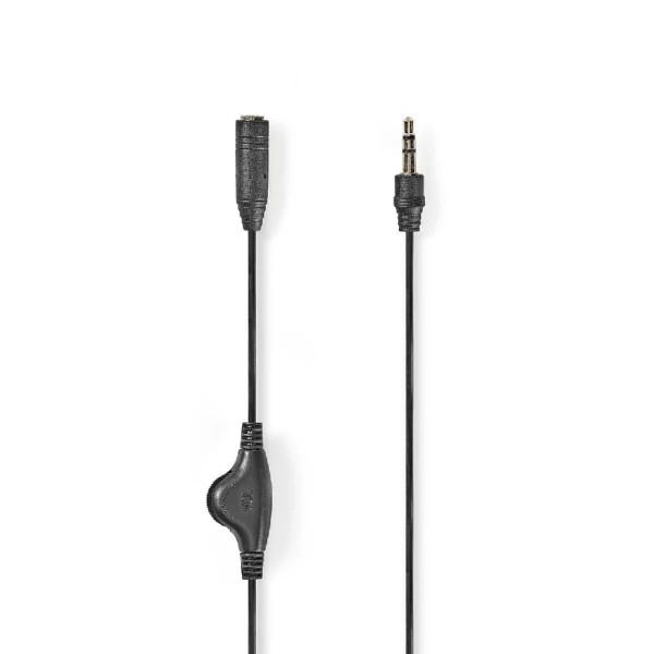 Stereo-Audiokabel met Volumeregeling, 3,5 mm Male - 3,5 mm Female, 1 meter