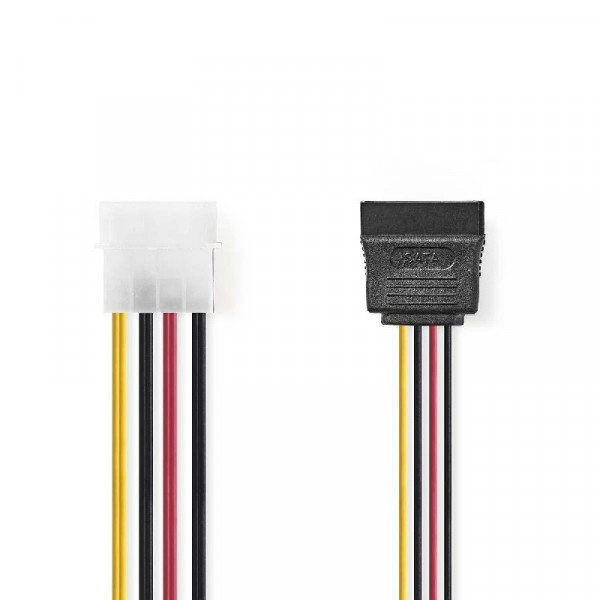 Stroomkabel Molex naar 2x SATA 15-Pins 0.15 m
