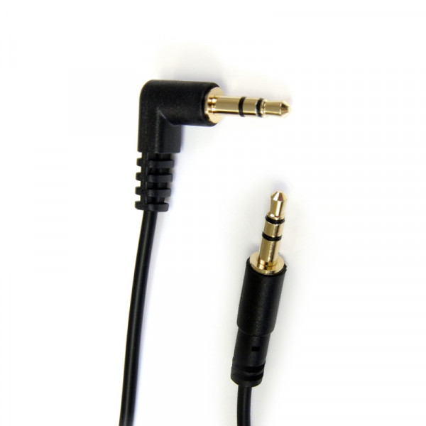 StarTech 3,5mm Stereo Jack Kabel - Een kant haaks - Verguld - 3 meter - Zwart