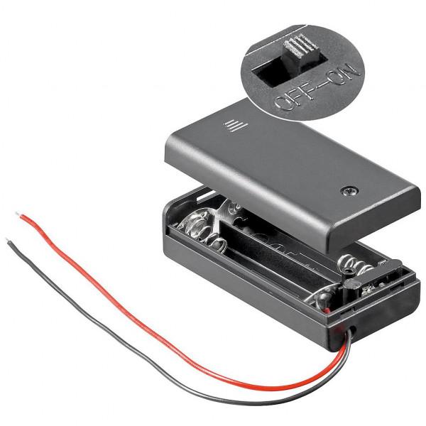 Batterijclip 2x AA met aan/uit schakelaar en kabel